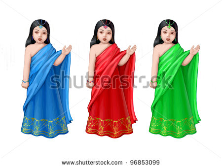 Three Sisters Clipart Three Sisters In Sari   Stock