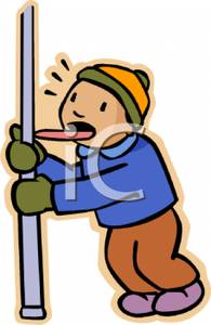With His Tongue Frozen To A Metal Pole   Royalty Free Clipart Picture