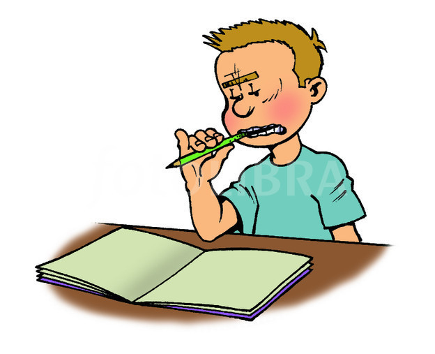 Cartoon Boy Doing Homework Illustration