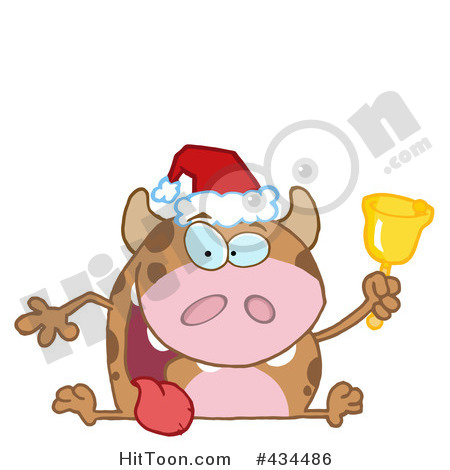 Christmas Cow Clipart  1   Royalty Free Stock Illustrations   Vector