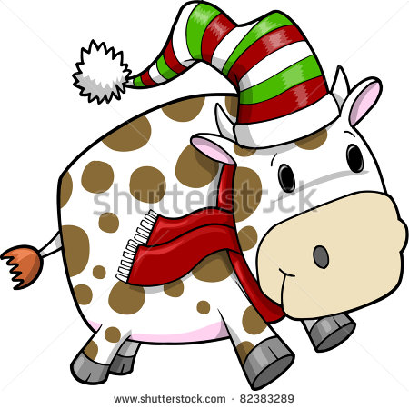 Christmas Cow Clipart Cute Holiday Christmas Cow