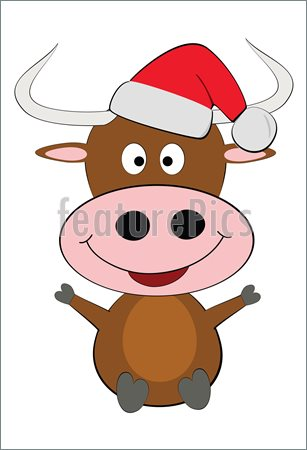 Christmas Cow Clipart Vector Happy Christmas Cow