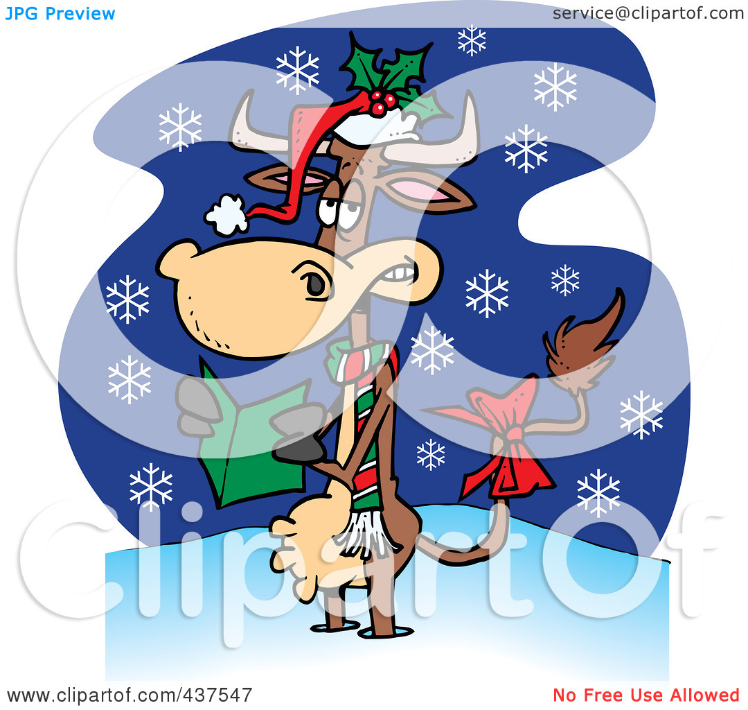 Clip Art Illustration Of A Christmas Cow In The Snow By Ron Leishman