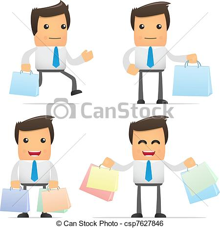 Clip Art Vector Of Set Of Funny Cartoon Manager   Set Of Funny Cartoon