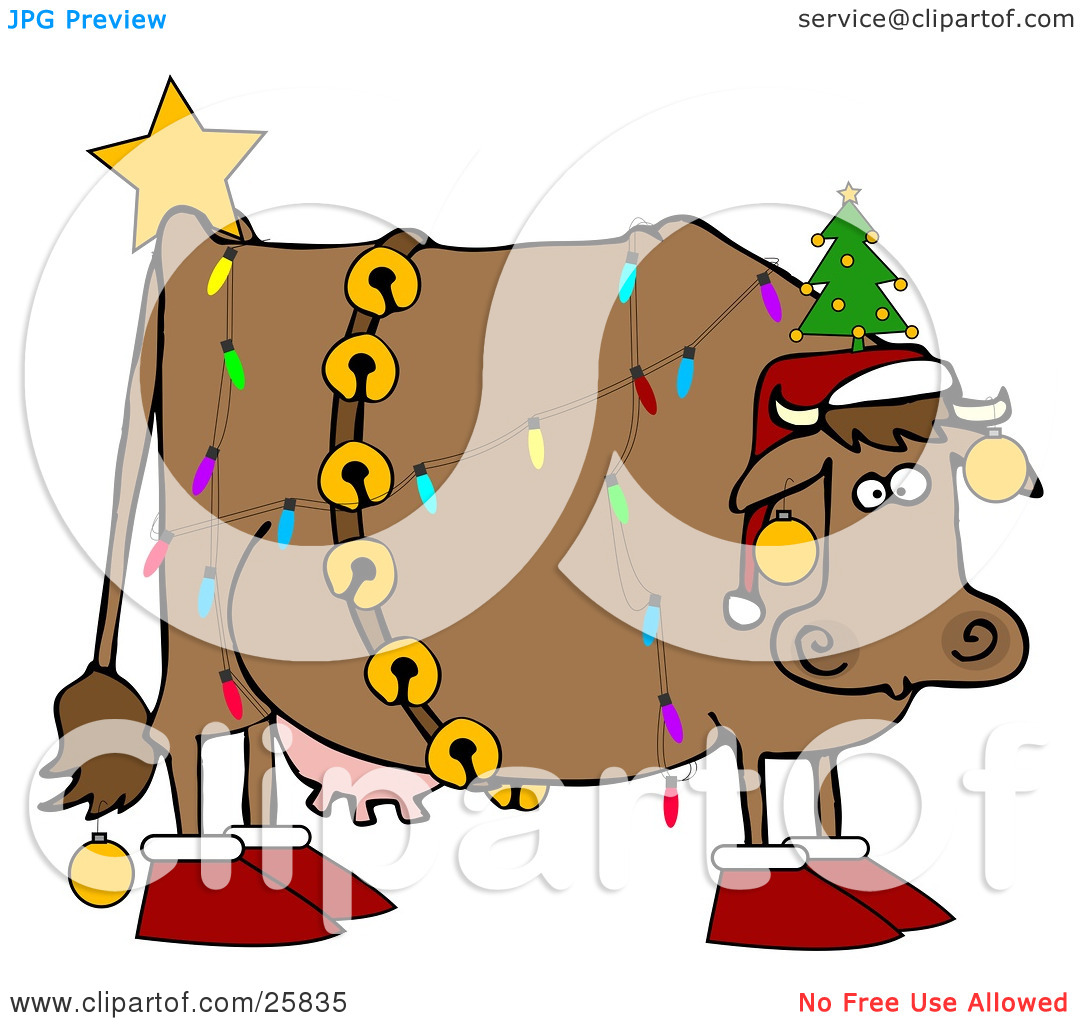 Clipart Illustration Of A Brown Dairy Cow Decorated Like A Christmas