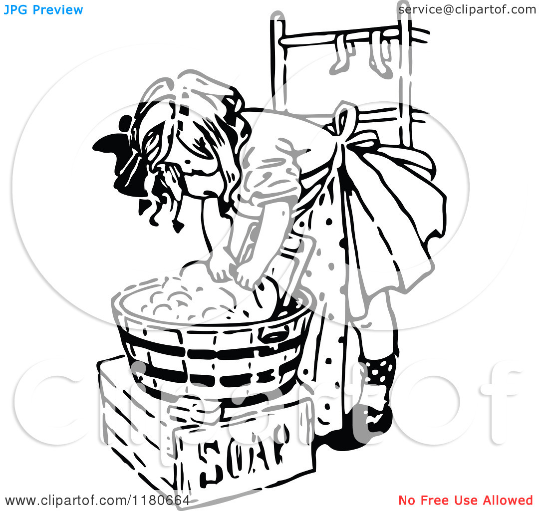 Clipart Of A Retro Vintage Black And White Girl Washing Laundry