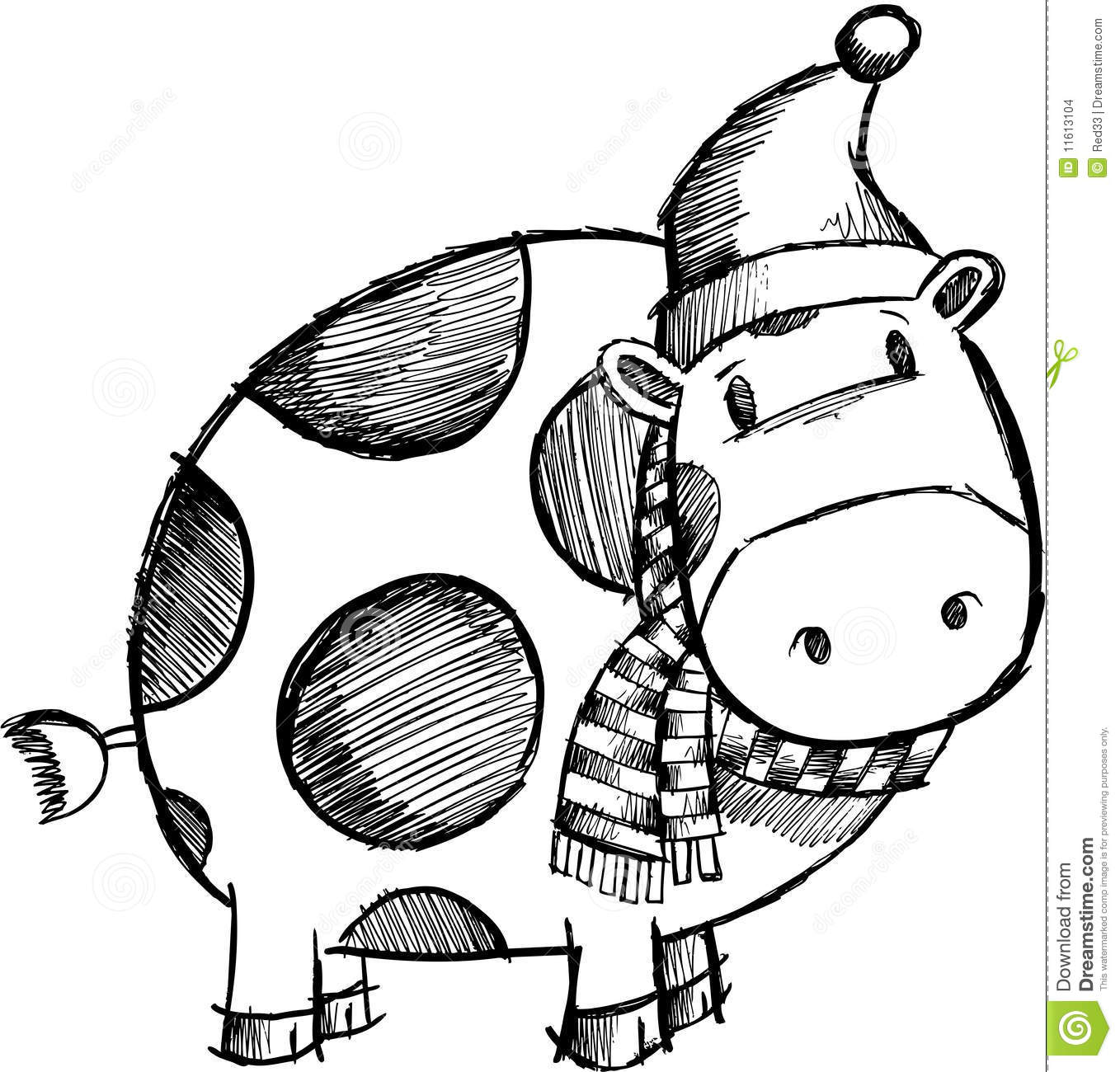Doodle Sketchy Christmas Cow Stock Images   Image  11613104
