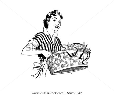 Lady With Laundry Basket   Retro Clip Art Stock Vector 56253547