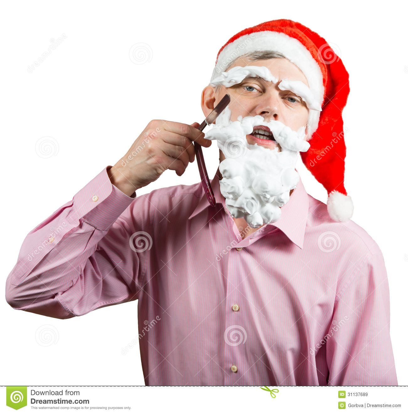 Man In Santa Hat Shaving His Foam Beard By Cutthroat Blade  Isolated