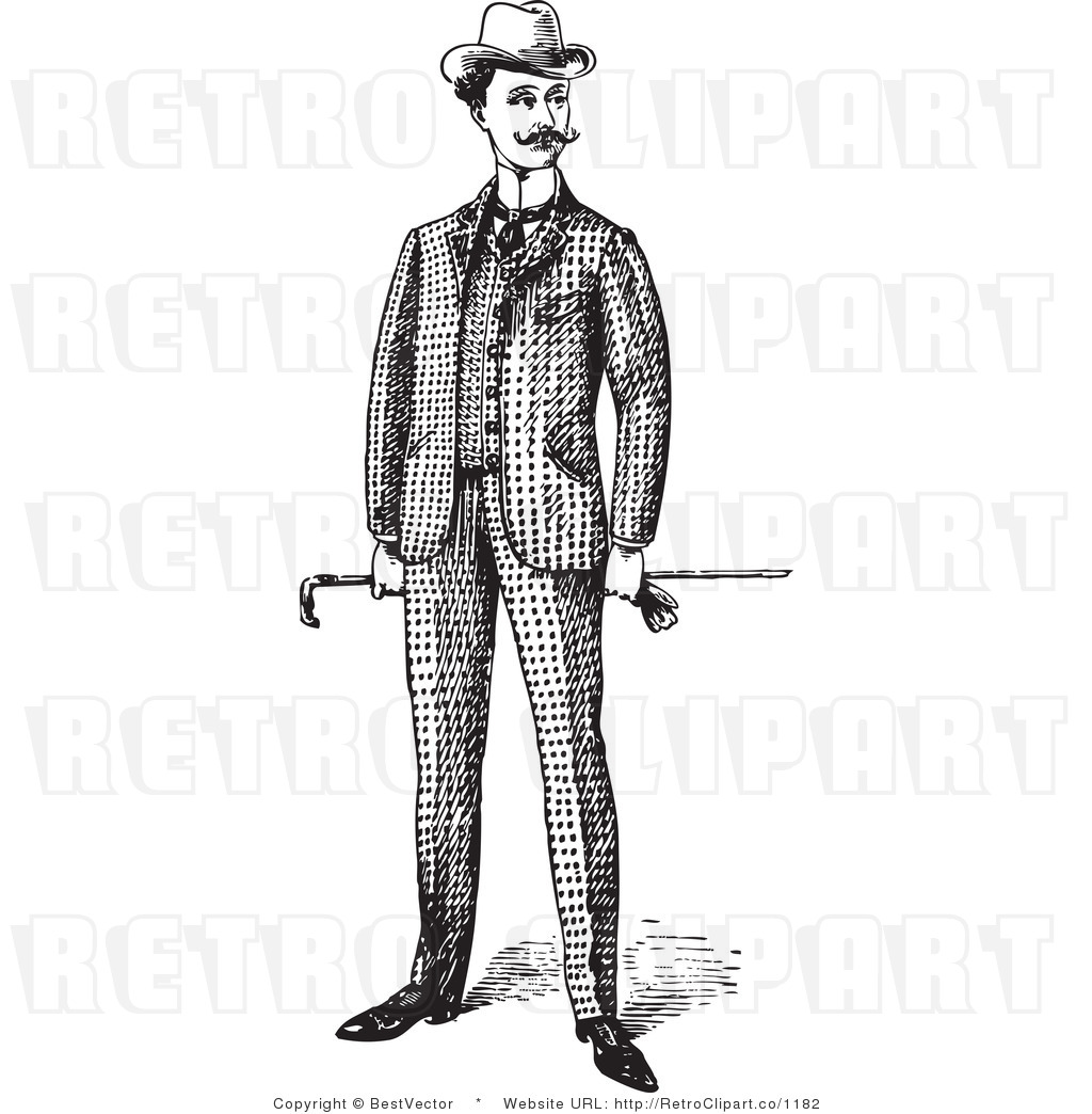 Royalty Free Black And White Retro Vector Clip Art Of A Man Standing