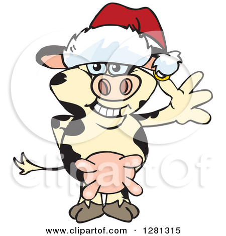Royalty Free  Rf  Christmas Cow Clipart   Illustrations  1