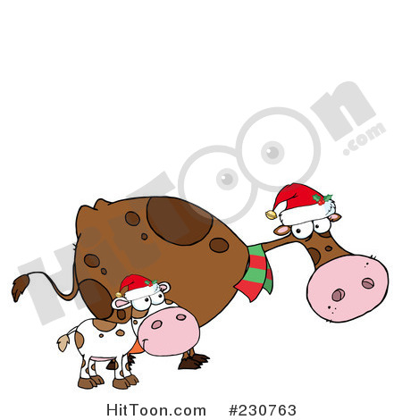 Royalty Free  Rf  Clipart Illustration Of Christmas Cows   1  230763