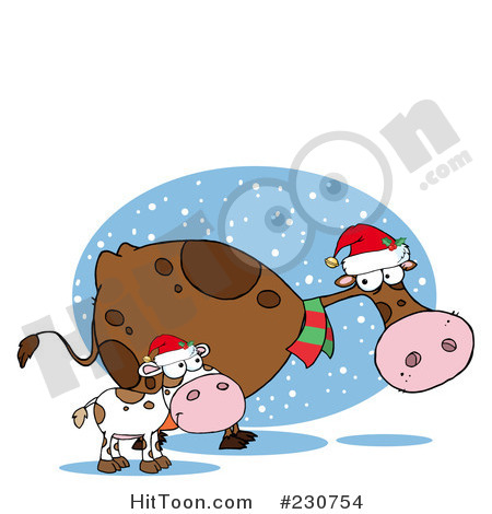 Royalty Free  Rf  Clipart Illustration Of Christmas Cows   2  230754