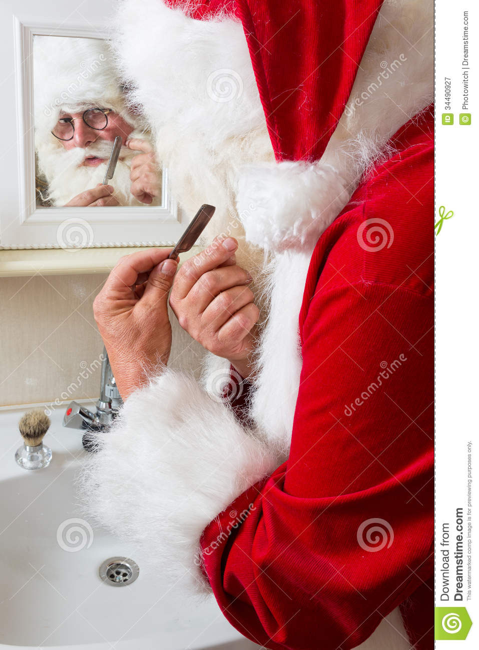 Santa Claus Is Shaving Royalty Free Stock Photography   Image