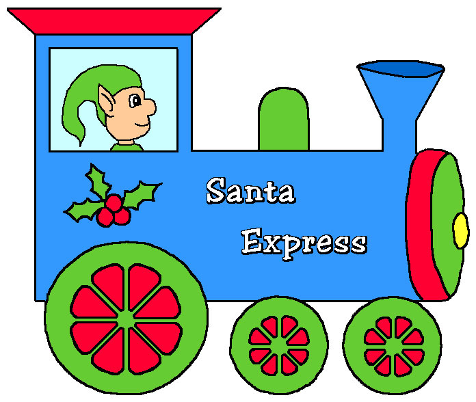 Santa Express Christmas Train Clip Art In Vibrant Colors  With An Elf