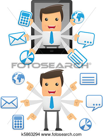 Set Of Funny Cartoon Manager View Large Clip Art Graphic