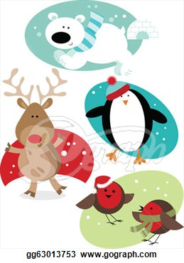 Stock Illustrations   Christmas Fun Animals  Stock Clipart Gg63013753