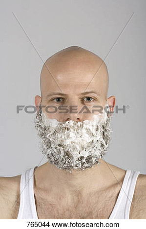 Stock Photo   A Man With Shaving Cream All Over His Beard  Fotosearch