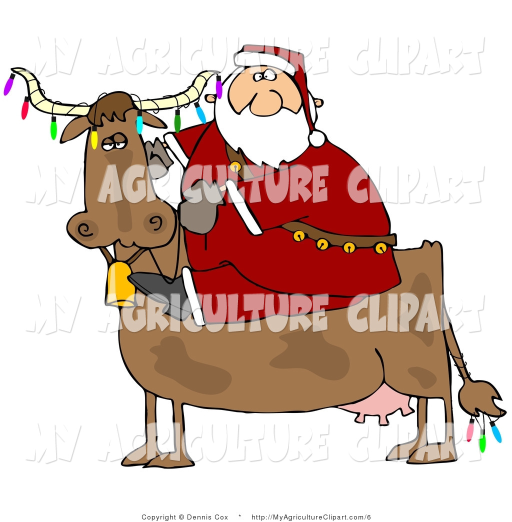 Vector Agriculture Clipart Of Santa Claus Riding A Brown Cow Decorated