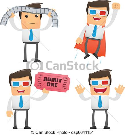 Vector Clip Art Of Set Of Funny Cartoon Manager   Set Of Funny Cartoon