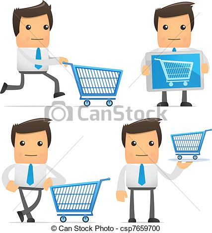 Vector Clipart Of Set Of Funny Cartoon Manager   Set Of Funny Cartoon