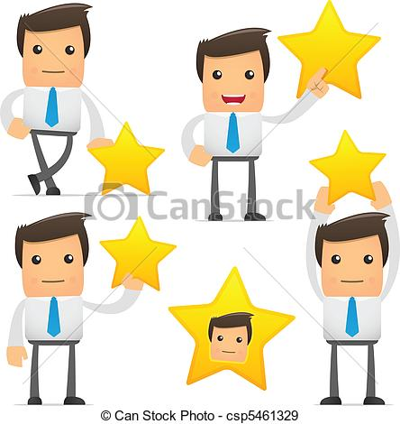 Vector   Set Of Funny Cartoon Manager   Stock Illustration Royalty