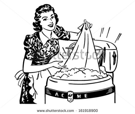 Washing Clothes Clipart Lady Doing Laundry   Retro