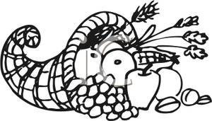 Cornucopia Black White Clipart - Clipart Kid