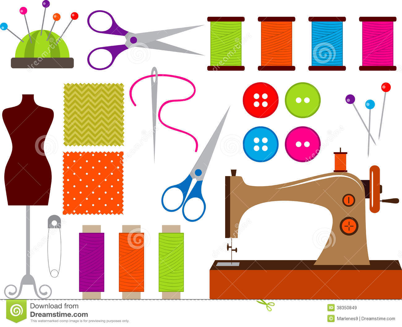 Colorful Sewing Clip Art Set