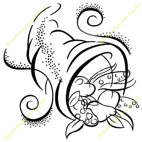 Cornucopia Black White Clipart - Clipart Suggest