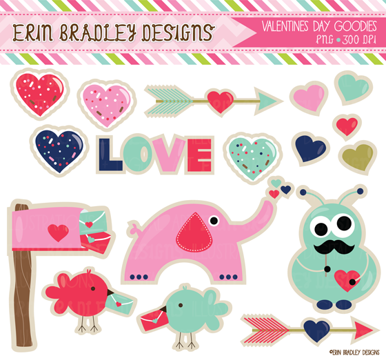 Erin Bradley Designs  Valentines Day Clipart   Digital Papers