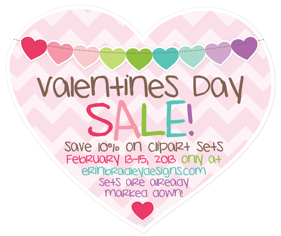 Erin Bradley Designs  Valentines Day Clipart Sale