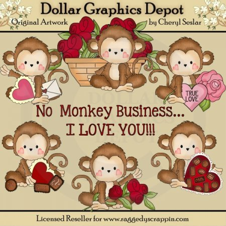 Monkey Business   Valentine S Day   Clip Art    1 00   Dollar Graphics