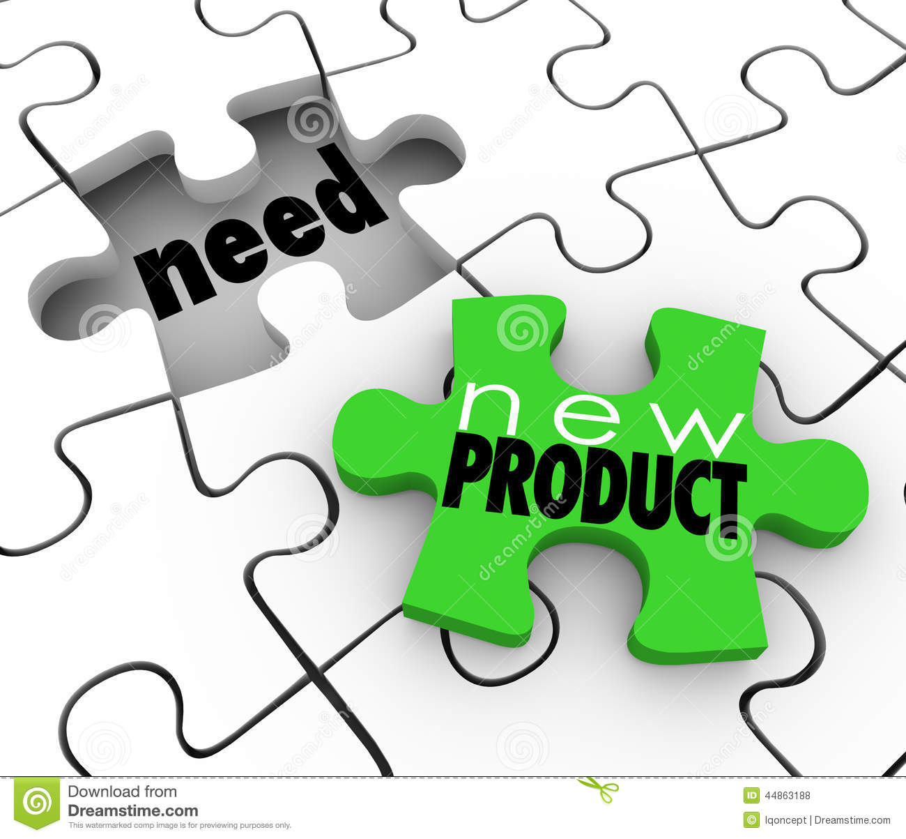 New Product Words On A Puzzle Piece Filling Customer Needs In A Gap Or