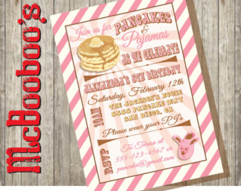 Party Invitations With A Big Stack On Pancakes And Fuzzy Slippers