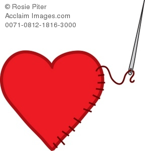 Royalty Free Clipart Illustration Of A Needle Sewing A Heart
