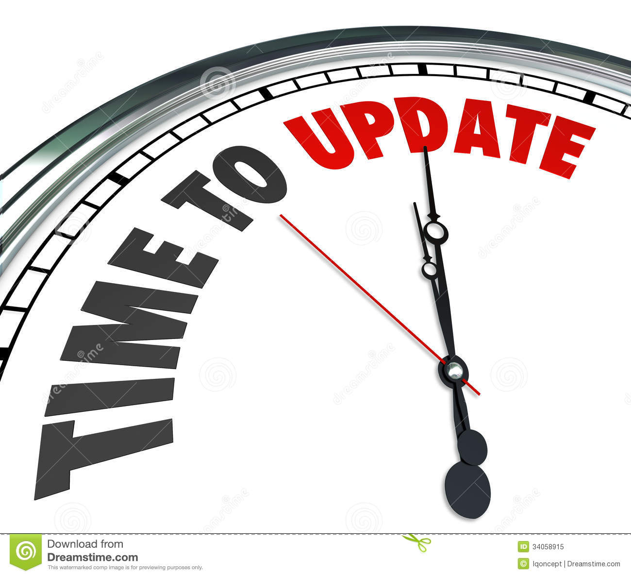 The Words Time To Update On A Clock To Illustrate The Need To Improve