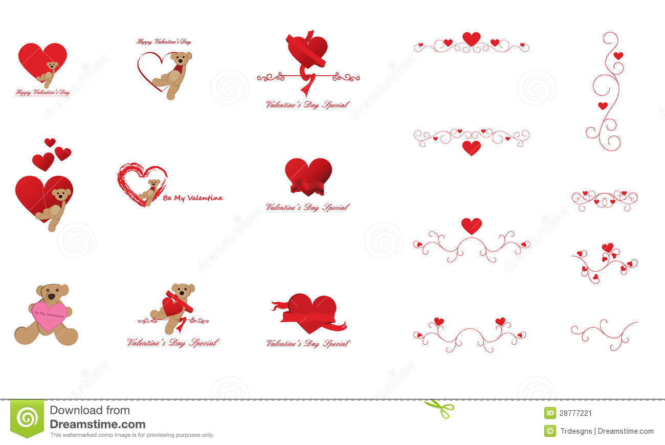Valentine S Day Clip Art And Design Elements Stock Image   Image