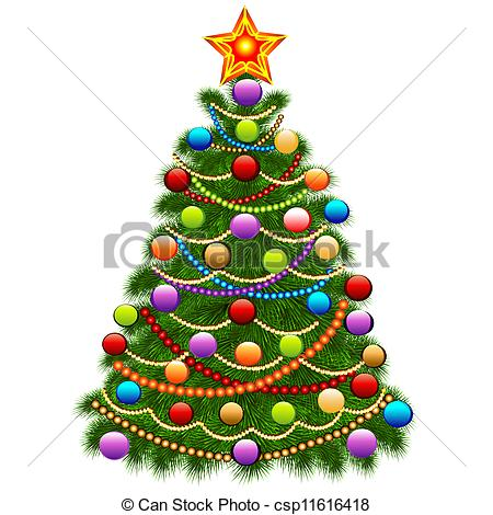 Vector   Of The Christmas Tree Decorated With Balls And Beads   Stock