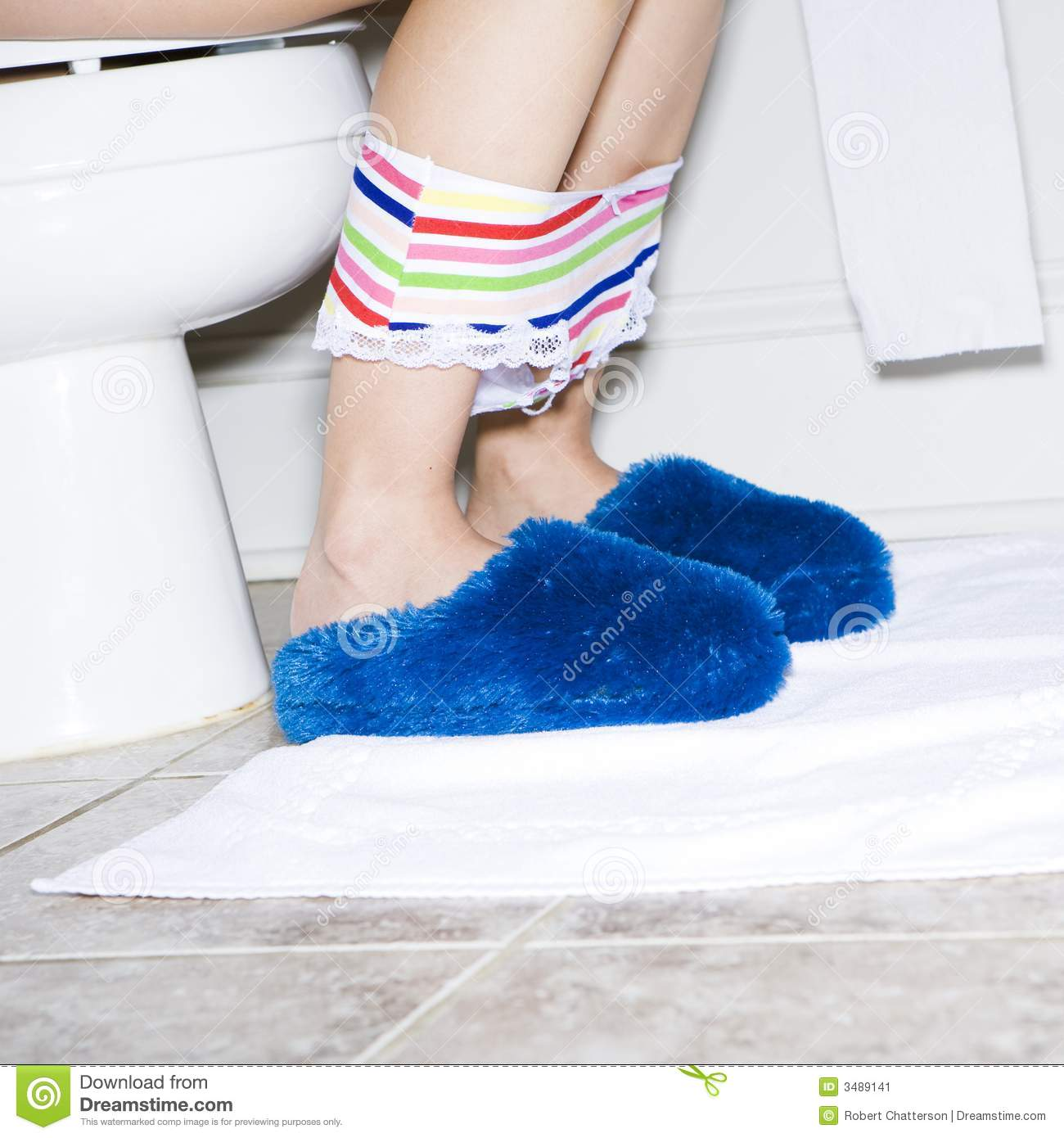 Women On Toilet With Slippers Stock Image   Image  3489141