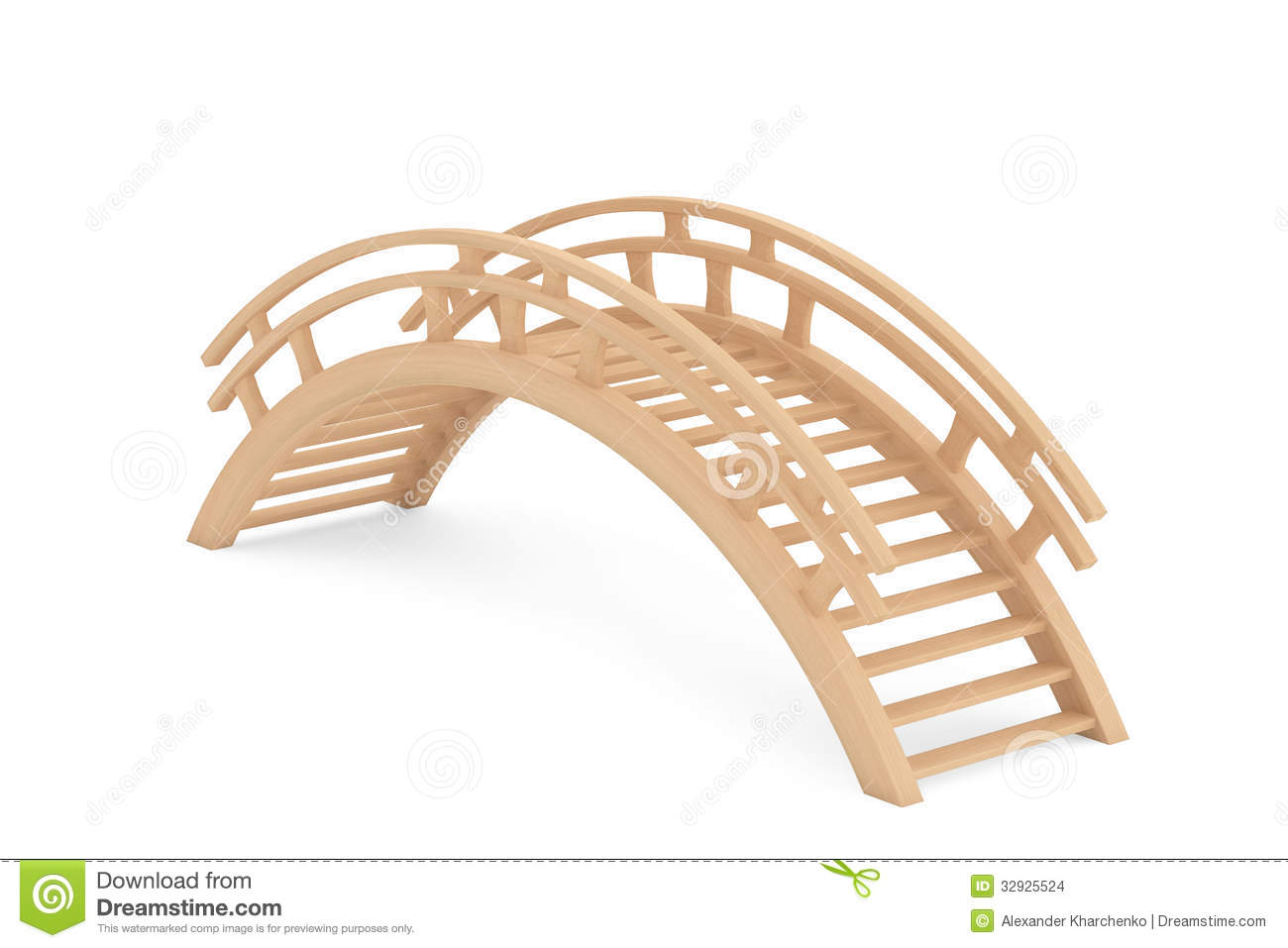 Wooden Bridge Clipart Closeup 3d Wooden Bridge On A