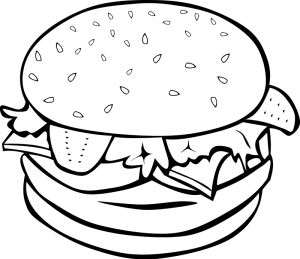 Burgers Black White Food Clipart