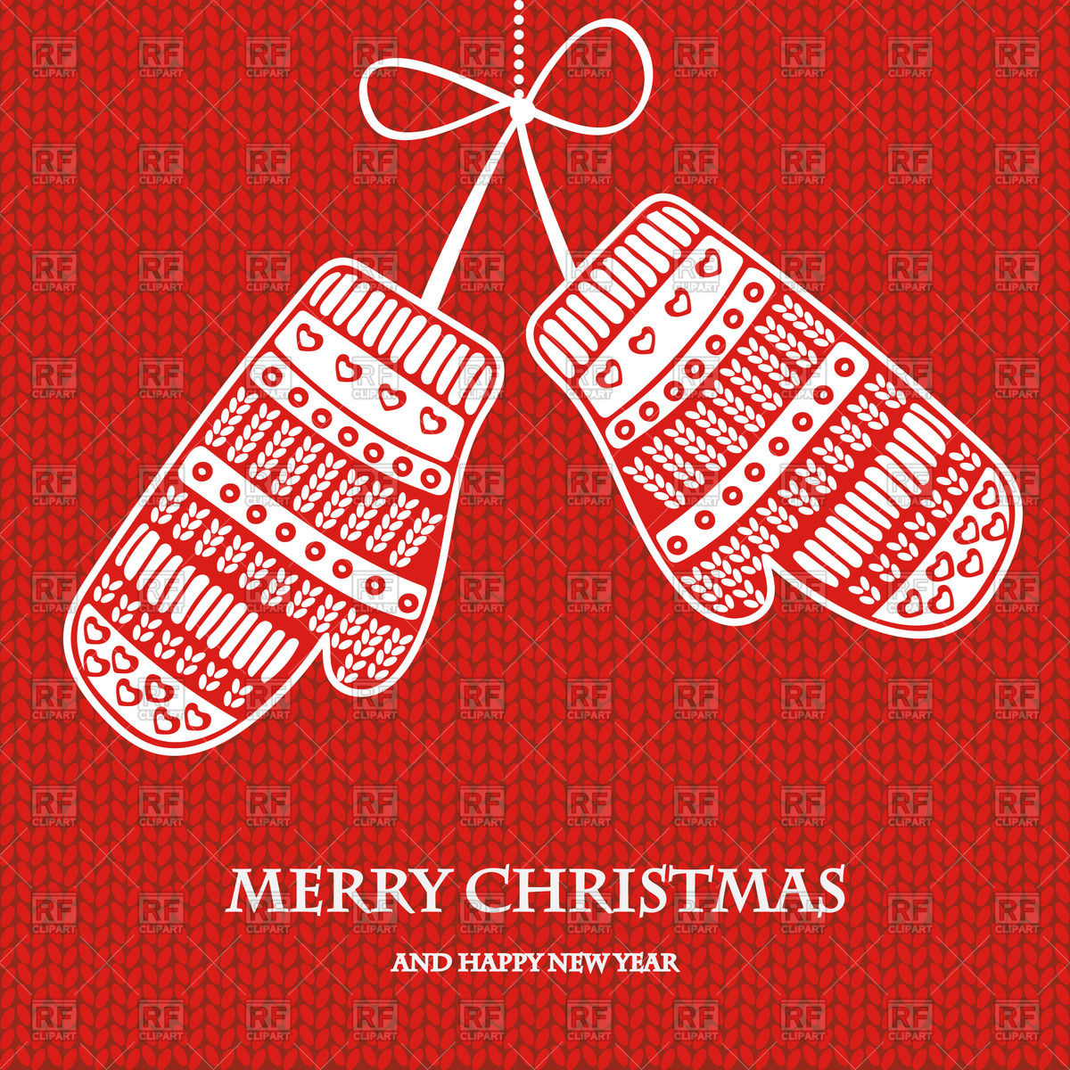 Christmas Card Wiht Mittens On Red Knitted Background Backgrounds