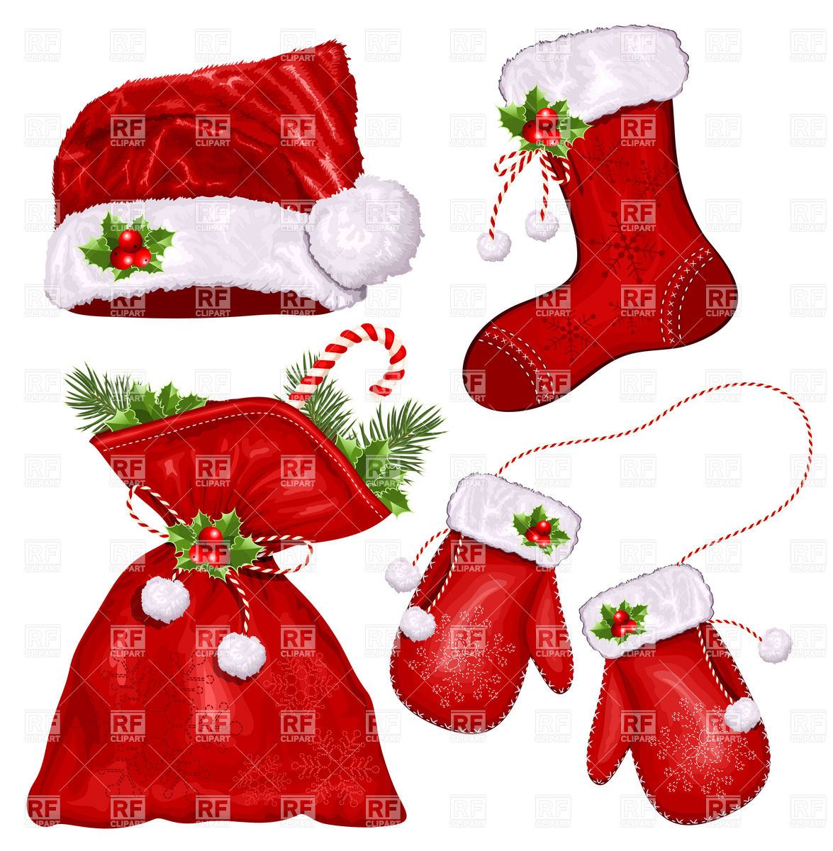 Christmas Symbols   Santa S Hat Mittens Sack And Xmas Sock 5374