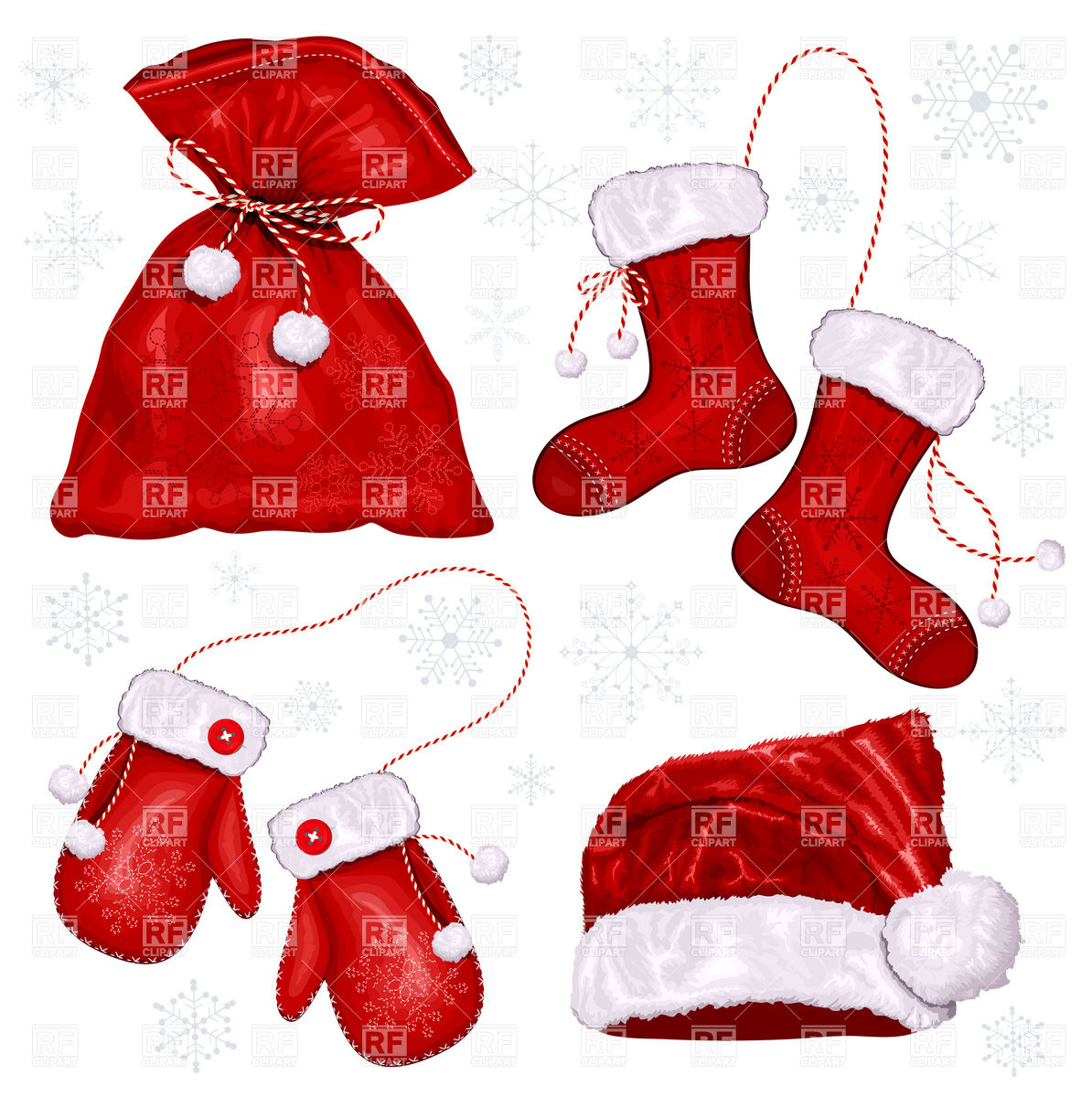Christmas Symbols   Santa S Mittens Hat And Sack 5029 Download