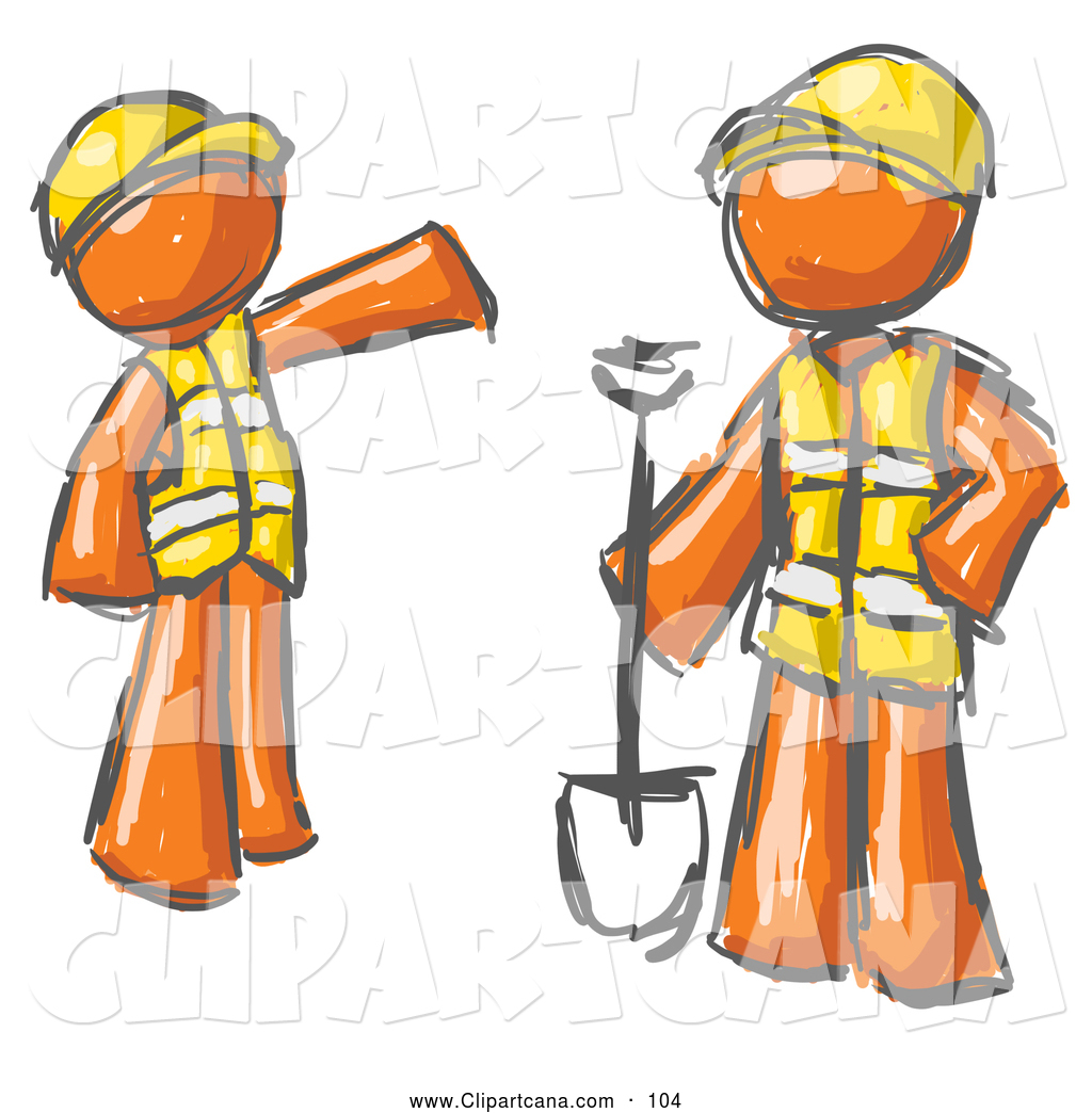 Clip Art Of A Pair Of Painted Orange Men In Hardhats And Vests Working
