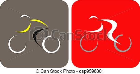Clipart Of Bicycle Racing   Vector Icons   Bicycle Racer   Isolated