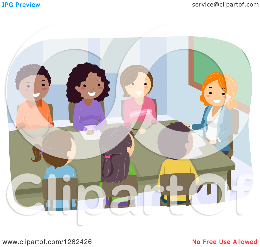 Clipart Of People In A Pta Meeting   Royalty Free Vector Illustration
