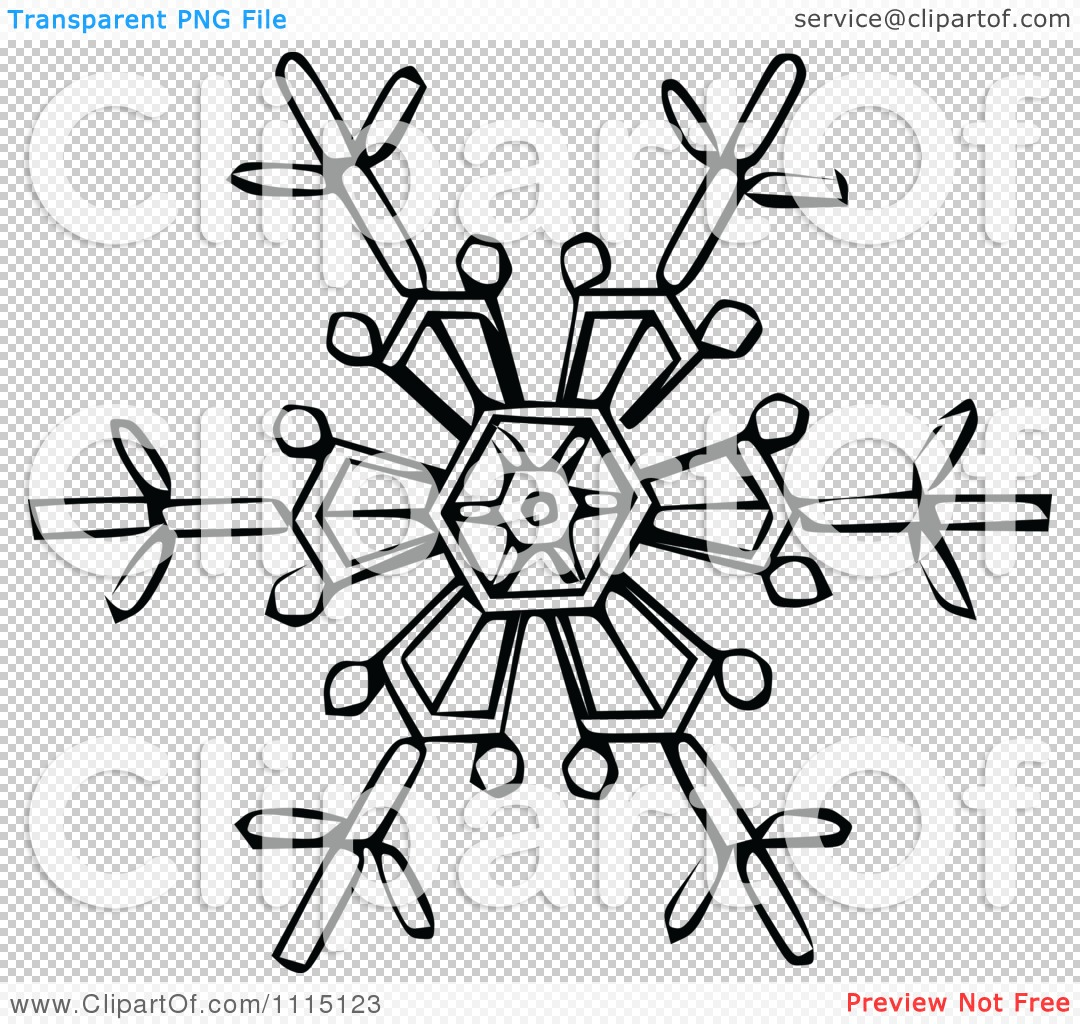 Clipart Vintage Black And White Snowflake 3 Royalty Free Vector