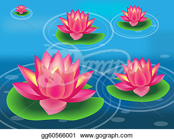 Illustration Of Water Flower And Lily Pad  Eps Clipart Gg60566001